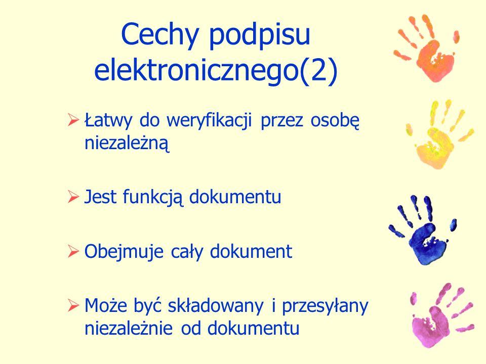 Cechy podpisu elektronicznego(2) Łatwy do weryfikacji przez osobę niezależną Jest funkcją dokumentu Obejmuje cały dokument Może być składowany i przes