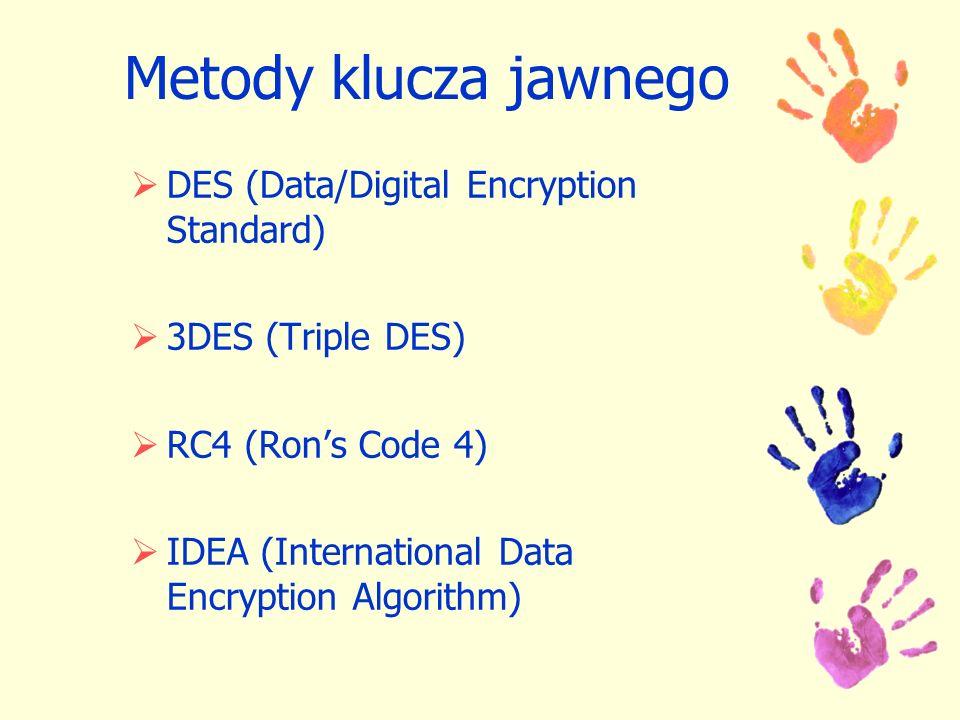 Metody klucza jawnego DES (Data/Digital Encryption Standard) 3DES (Triple DES) RC4 (Rons Code 4) IDEA (International Data Encryption Algorithm)
