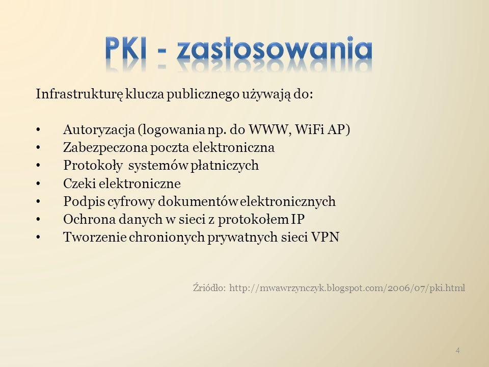 Infrastrukturę klucza publicznego używają do: Autoryzacja (logowania np. do WWW, WiFi AP) Zabezpeczona poczta elektroniczna Protokoły systemów płatnic