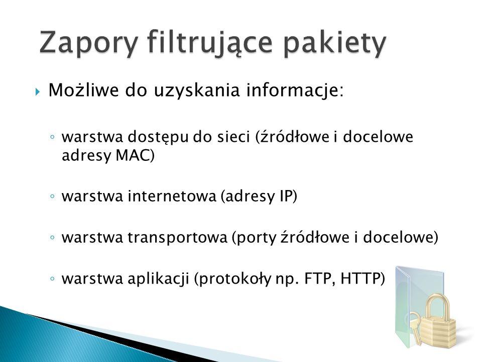 Możliwe do uzyskania informacje: warstwa dostępu do sieci (źródłowe i docelowe adresy MAC) warstwa internetowa (adresy IP) warstwa transportowa (porty