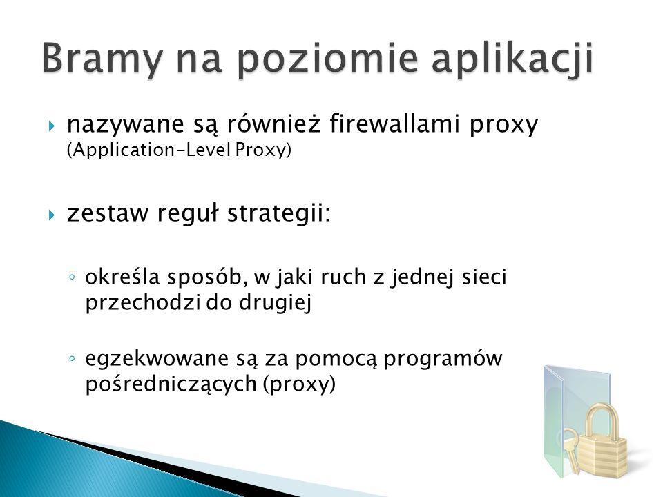 nazywane są również firewallami proxy (Application-Level Proxy) zestaw reguł strategii: określa sposób, w jaki ruch z jednej sieci przechodzi do drugi
