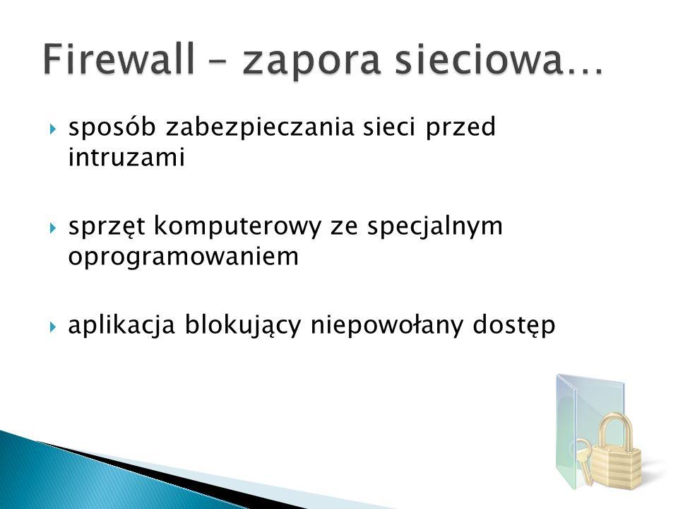 Najczęściej stosowane sprzętowe rozwiązania typu firewall: Firewall z dwoma kartami sieciowymi Firewall z routerem ekranującym Firewall z dwoma routerami ekranującymi