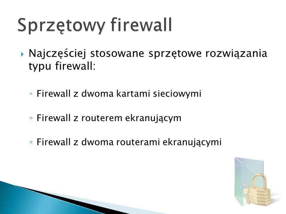 Najczęściej stosowane sprzętowe rozwiązania typu firewall: Firewall z dwoma kartami sieciowymi Firewall z routerem ekranującym Firewall z dwoma router