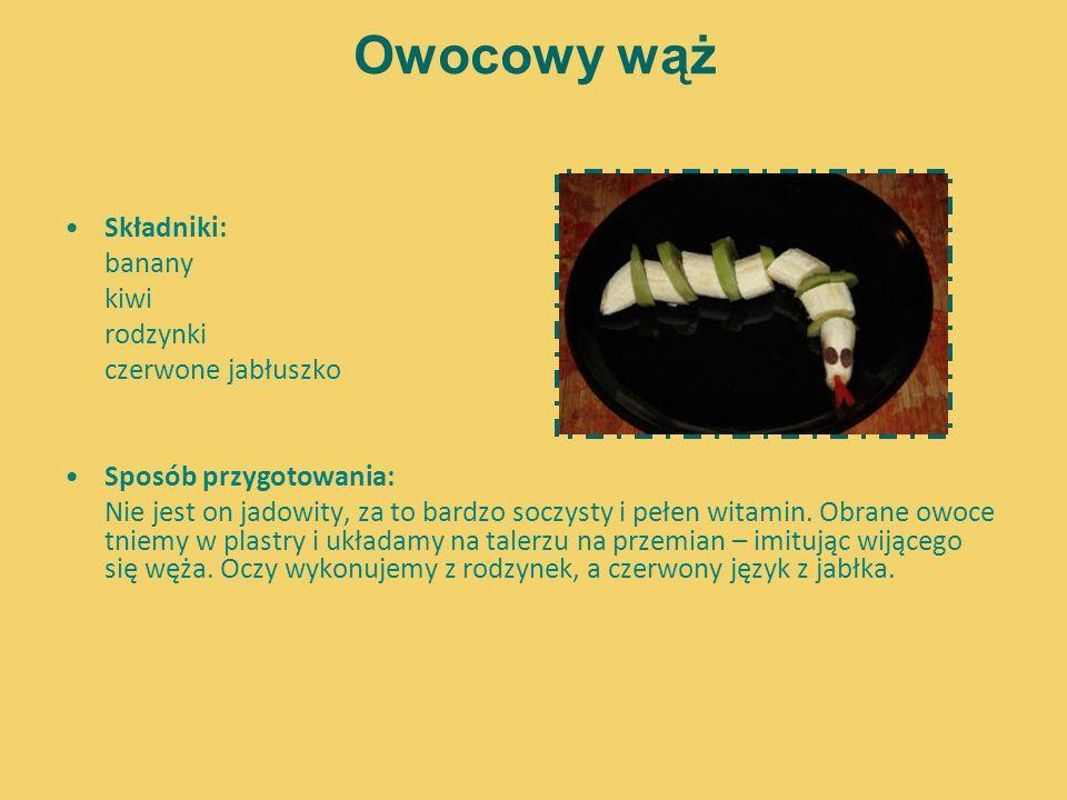 Owocowy wąż Składniki: banany kiwi rodzynki czerwone jabłuszko Sposób przygotowania: Nie jest on jadowity, za to bardzo soczysty i pełen witamin. Obra
