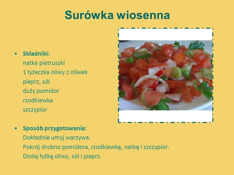 Surówka wiosenna Składniki: natka pietruszki 1 łyżeczka oliwy z oliwek pieprz, sól duży pomidor rzodkiewka szczypior Sposób przygotowania: Dokładnie u