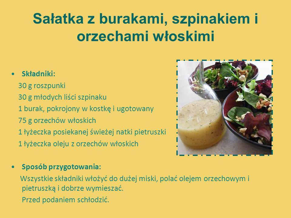 Sałatka z burakami, szpinakiem i orzechami włoskimi Składniki: 30 g roszpunki 30 g młodych liści szpinaku 1 burak, pokrojony w kostkę i ugotowany 75 g