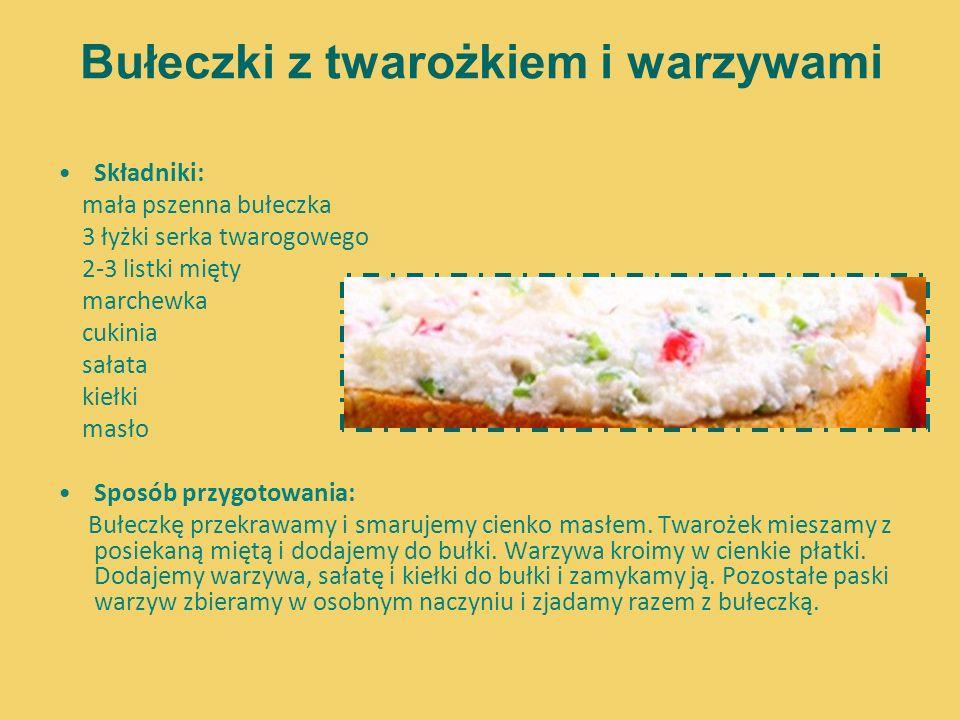 Bułeczki z twarożkiem i warzywami Składniki: mała pszenna bułeczka 3 łyżki serka twarogowego 2-3 listki mięty marchewka cukinia sałata kiełki masło Sp