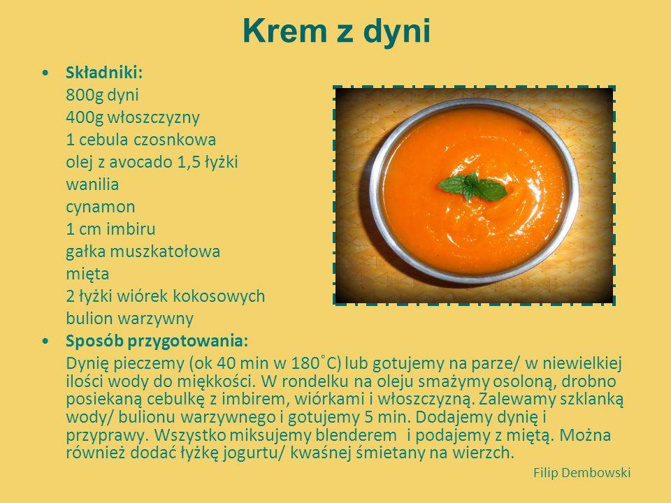 Krem z dyni Składniki: 800g dyni 400g włoszczyzny 1 cebula czosnkowa olej z avocado 1,5 łyżki wanilia cynamon 1 cm imbiru gałka muszkatołowa mięta 2 ł