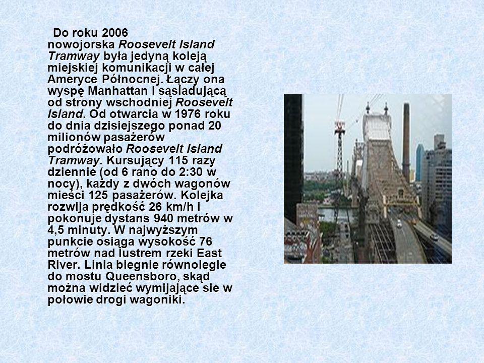 Do roku 2006 nowojorska Roosevelt Island Tramway była jedyną koleją miejskiej komunikacji w całej Ameryce Północnej. Łączy ona wyspę Manhattan i sąsia