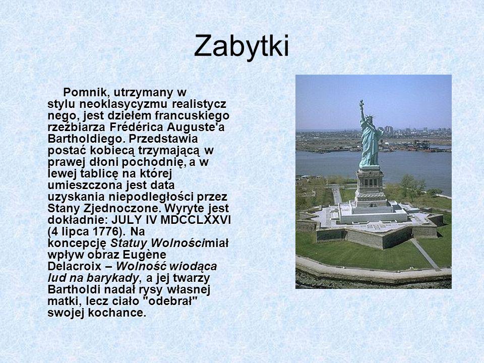 Zabytki Pomnik, utrzymany w stylu neoklasycyzmu realistycz nego, jest dziełem francuskiego rzeźbiarza Frédérica Auguste'a Bartholdiego. Przedstawia po