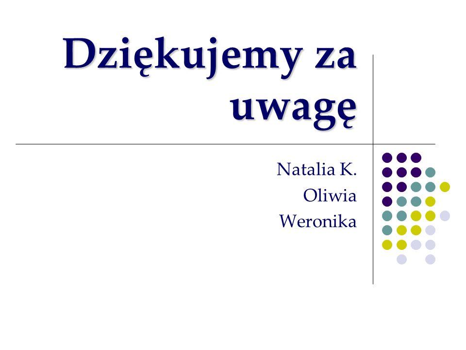 Dziękujemy za uwagę Natalia K. Oliwia Weronika