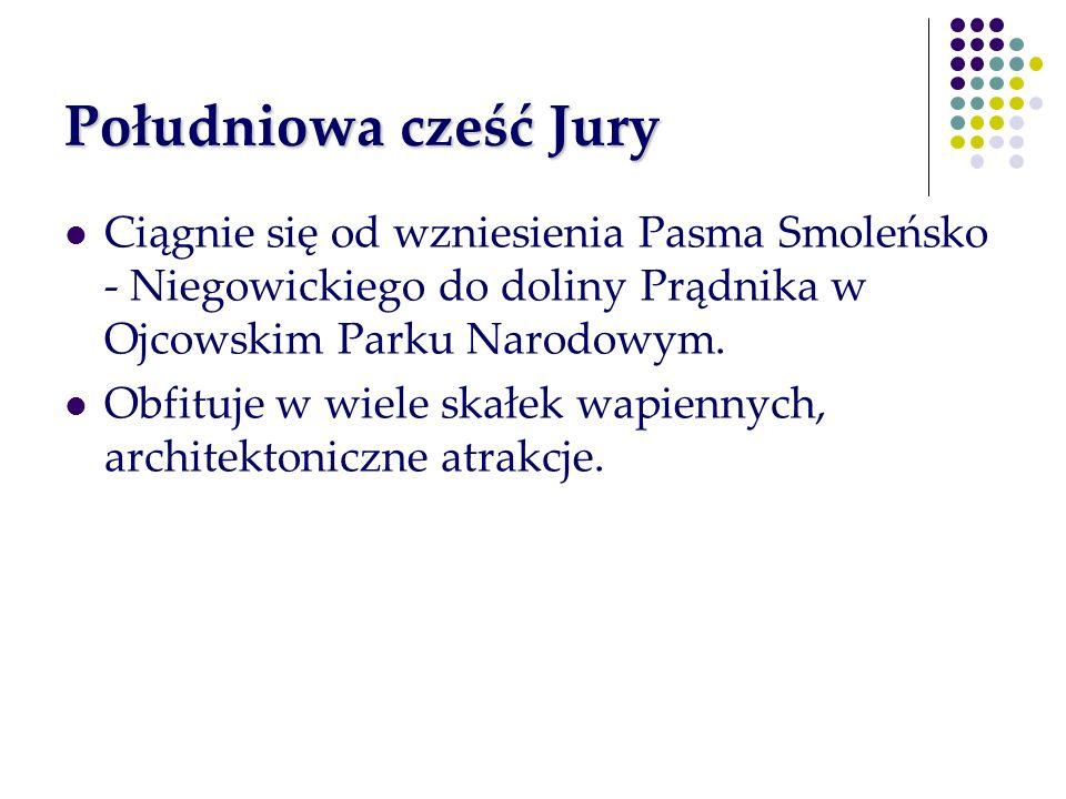 Południowa cześć Jury Ciągnie się od wzniesienia Pasma Smoleńsko - Niegowickiego do doliny Prądnika w Ojcowskim Parku Narodowym. Obfituje w wiele skał