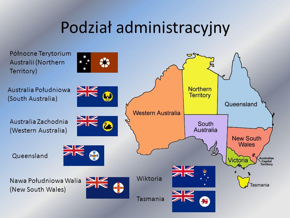 Podział administracyjny Północne Terytorium Australii (Northern Territory) Australia Południowa (South Australia) Australia Zachodnia (Western Austral