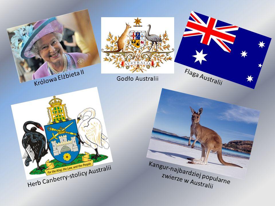 Królowa Elżbieta II Flaga Australii Godło Australii Herb Canberry-stolicy Australii Kangur-najbardziej popularne zwierze w Australii