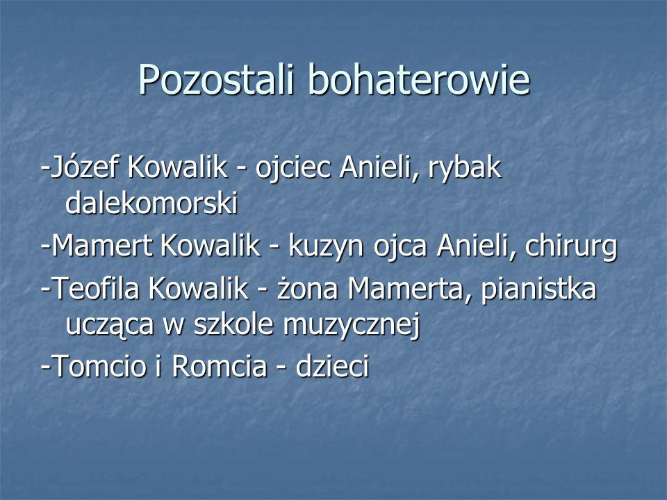Pozostali bohaterowie -Józef Kowalik - ojciec Anieli, rybak dalekomorski -Mamert Kowalik - kuzyn ojca Anieli, chirurg -Teofila Kowalik - żona Mamerta,