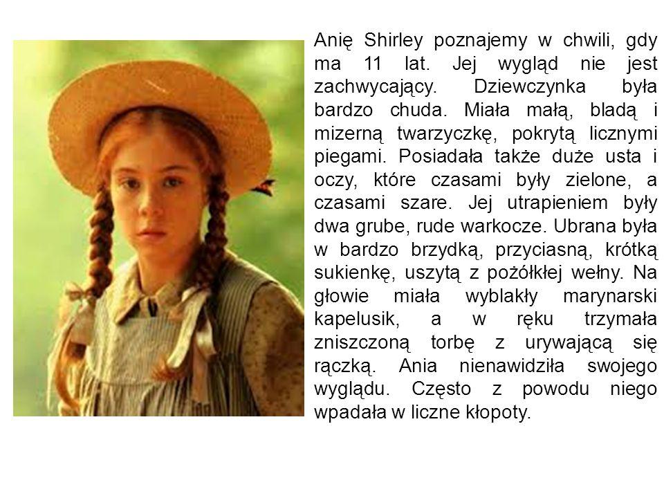 Anię Shirley poznajemy w chwili, gdy ma 11 lat. Jej wygląd nie jest zachwycający. Dziewczynka była bardzo chuda. Miała małą, bladą i mizerną twarzyczk