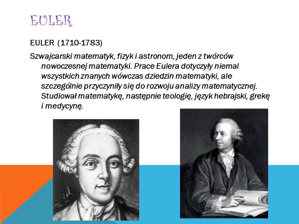 EULER EULER (1710-1783) Szwajcarski matematyk, fizyk i astronom, jeden z twórców nowoczesnej matematyki. Prace Eulera dotyczyły niemal wszystkich znan