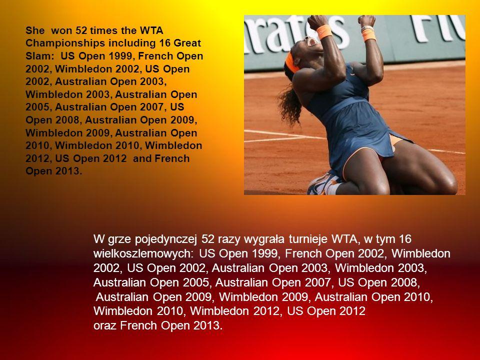 W grze pojedynczej 52 razy wygrała turnieje WTA, w tym 16 wielkoszlemowych: US Open 1999, French Open 2002, Wimbledon 2002, US Open 2002, Australian O