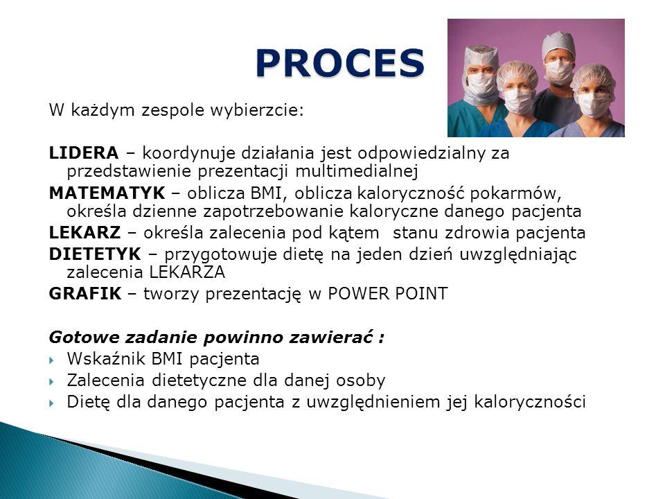 W każdym zespole wybierzcie: LIDERA – koordynuje działania jest odpowiedzialny za przedstawienie prezentacji multimedialnej MATEMATYK – oblicza BMI, o
