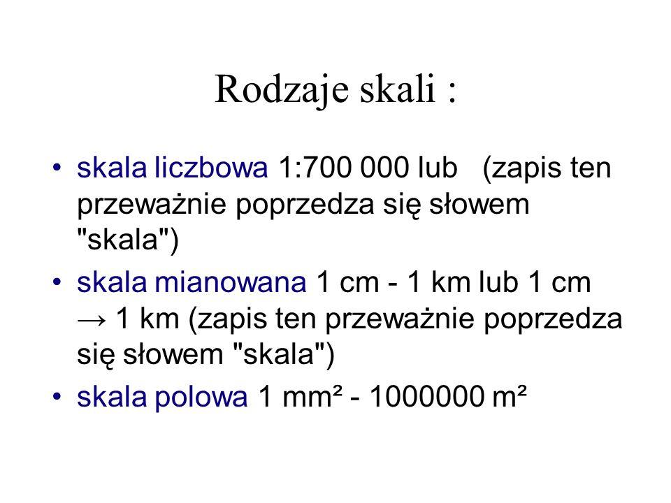 Rodzaje skali : skala liczbowa 1:700 000 lub (zapis ten przeważnie poprzedza się słowem