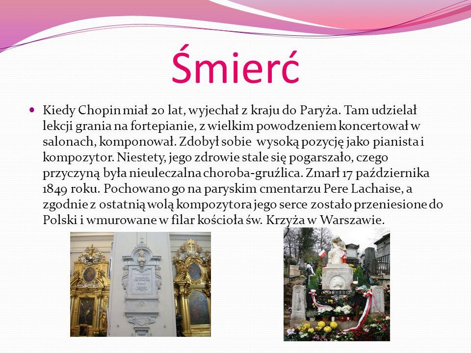 Życiorys Fryderyk Chopin to najwybitniejszy polski kompozytor. Urodził się w Żelazowej Woli niedaleko Warszawy 1 marca 1810 roku. Jego ojciec, Mikołaj