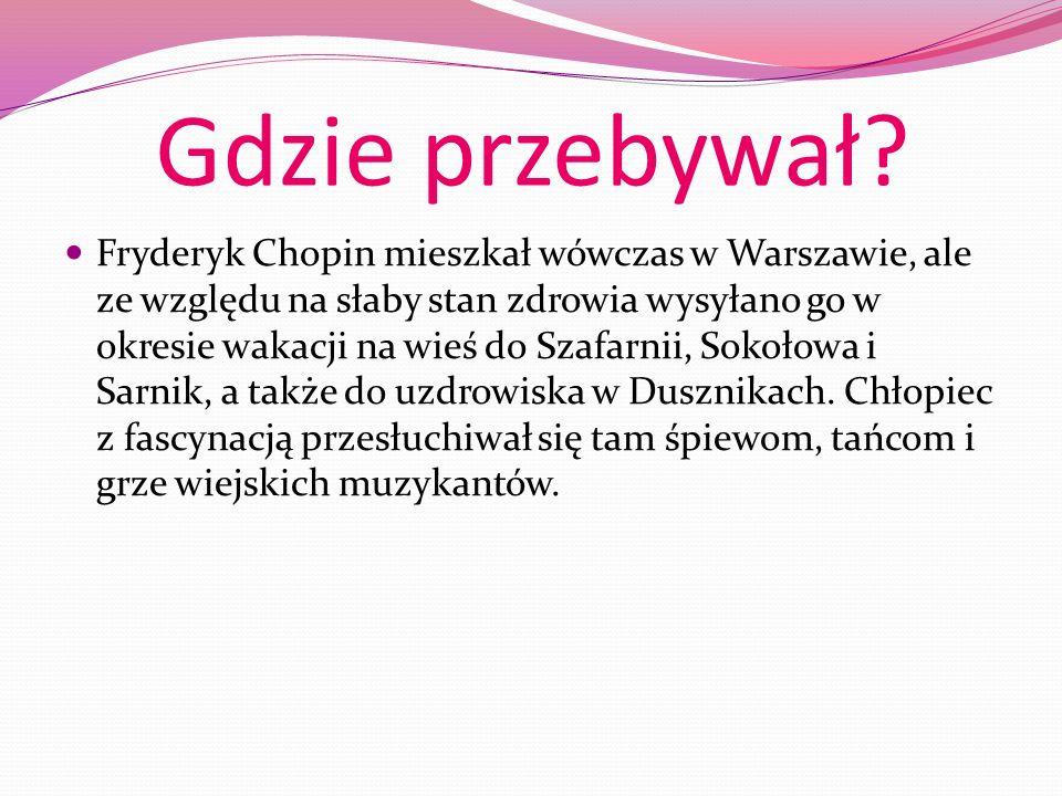 Śmierć Kiedy Chopin miał 20 lat, wyjechał z kraju do Paryża. Tam udzielał lekcji grania na fortepianie, z wielkim powodzeniem koncertował w salonach,
