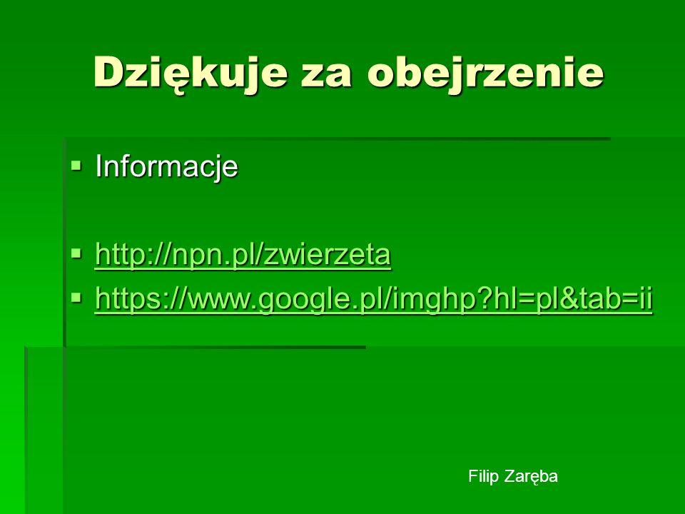 Dziękuje za obejrzenie Informacje Informacje http://npn.pl/zwierzeta http://npn.pl/zwierzeta http://npn.pl/zwierzeta https://www.google.pl/imghp?hl=pl
