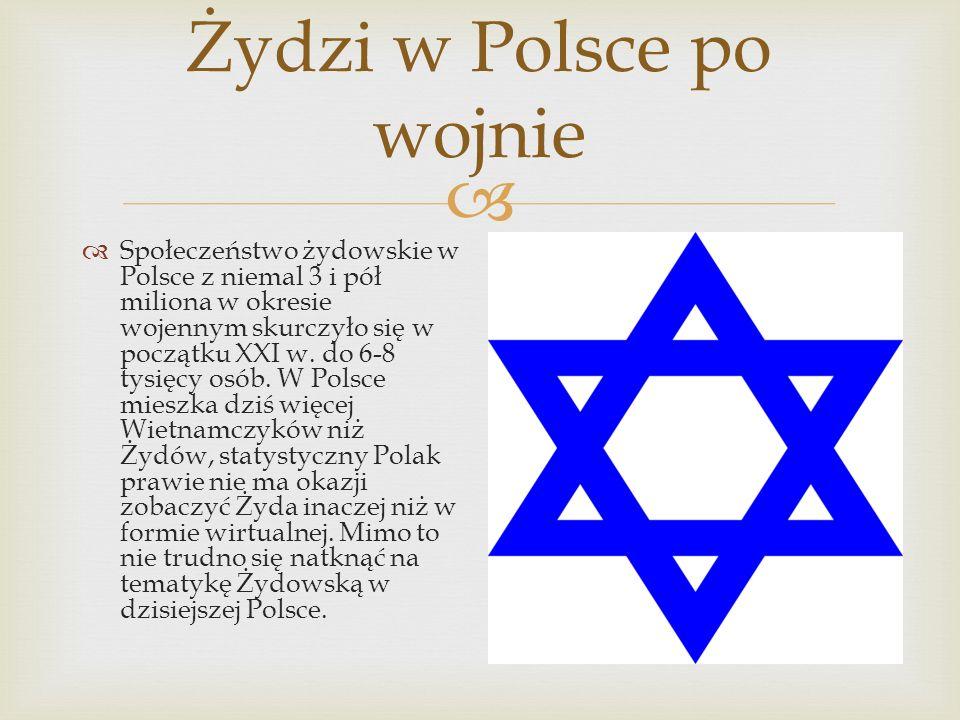 Żydzi w Polsce po wojnie Społeczeństwo żydowskie w Polsce z niemal 3 i pół miliona w okresie wojennym skurczyło się w początku XXI w. do 6-8 tysięcy o