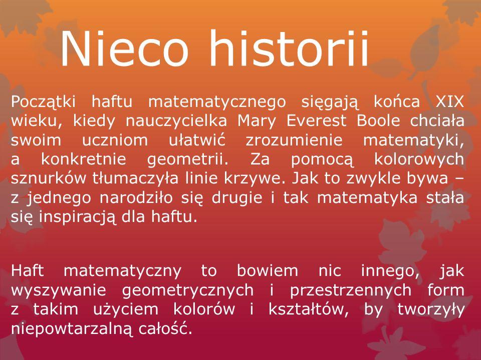 Strony z których możecie się czegoś dowiedzieć to : -http://www.makatka.pl/index.php/example-pages/115-haft/150- haft-matematycznyhttp://www.makatka.pl/index.php/example-pages/115-haft/150- haft-matematyczny - http://fascinata.blox.pl/tagi_b/12619/haft-matematyczny.htmhttp://fascinata.blox.pl/tagi_b/12619/haft-matematyczny.htm -l -http://manualni.pl/kartki-haft-matematyczny/http://manualni.pl/kartki-haft-matematyczny/ -http://mamuska73.blogspot.com/2010/11/60kurs-haftu- matematycznego-ii.htmlhttp://mamuska73.blogspot.com/2010/11/60kurs-haftu- matematycznego-ii.html -http://srebrnaagrafka.pl/artykuly/haft-matematycznyhttp://srebrnaagrafka.pl/artykuly/haft-matematyczny