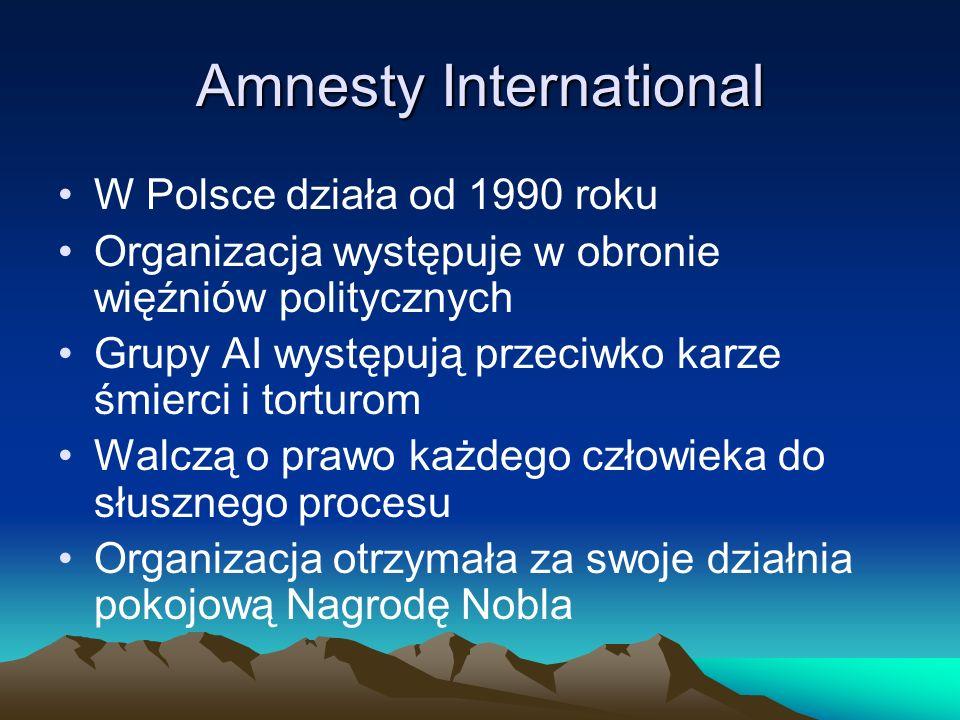 Amnesty International W Polsce działa od 1990 roku Organizacja występuje w obronie więźniów politycznych Grupy AI występują przeciwko karze śmierci i