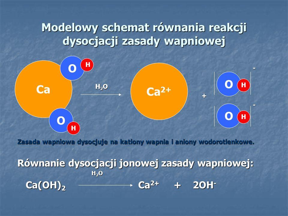Modelowy schemat równania reakcji dysocjacji zasady wapniowej - H 2 O H 2 O + - Zasada wapniowa dysocjuje na kationy wapnia i aniony wodorotlenkowe. R