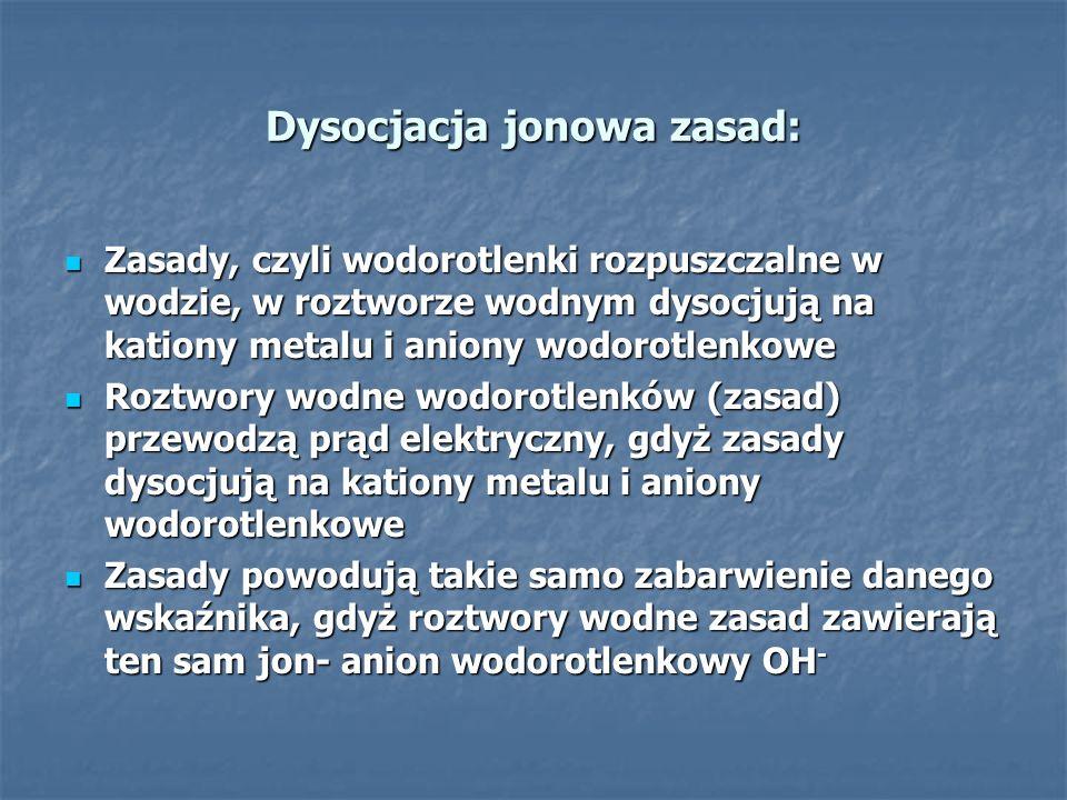 Dysocjacja jonowa zasad: Zasady, czyli wodorotlenki rozpuszczalne w wodzie, w roztworze wodnym dysocjują na kationy metalu i aniony wodorotlenkowe Zas