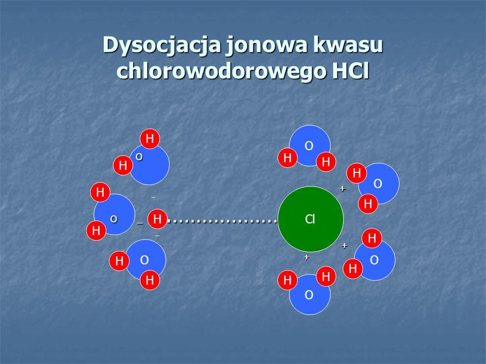 Dysocjacja jonowa kwasu chlorowodorowego HCl H Cl O O + O + + + O _.……………… O _.……………… + + O O O O H H H H H H H H H H H H H H