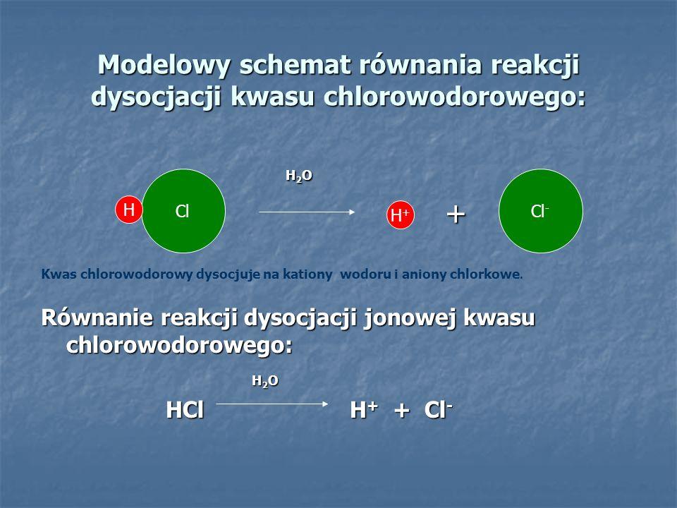 Modelowy schemat równania reakcji dysocjacji kwasu chlorowodorowego: H 2 O H 2 O + Kwas chlorowodorowy dysocjuje na kationy wodoru i aniony chlorkowe.
