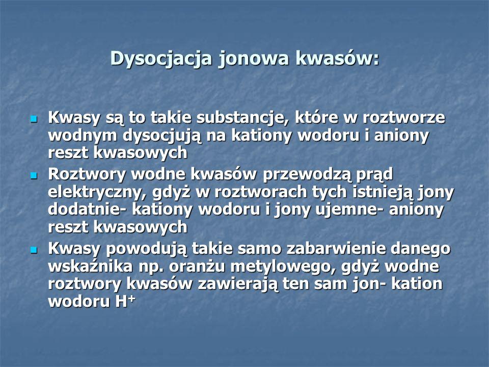Dysocjacja jonowa kwasów: Kwasy są to takie substancje, które w roztworze wodnym dysocjują na kationy wodoru i aniony reszt kwasowych Kwasy są to taki