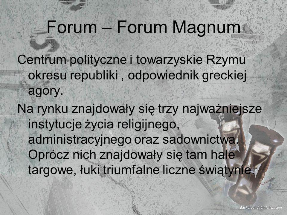 Forum – Forum Magnum Centrum polityczne i towarzyskie Rzymu okresu republiki, odpowiednik greckiej agory. Na rynku znajdowały się trzy najważniejsze i