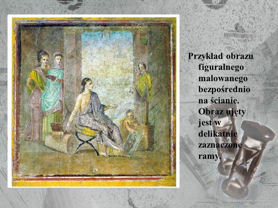 Przykład obrazu figuralnego malowanego bezpośrednio na ścianie. Obraz ujęty jest w delikatnie zaznaczone ramy.