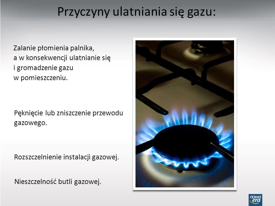 Przyczyny ulatniania się gazu: Zalanie płomienia palnika, a w konsekwencji ulatnianie się i gromadzenie gazu w pomieszczeniu. Pęknięcie lub zniszczeni
