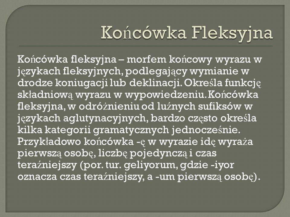 Ko ń cówka fleksyjna – morfem ko ń cowy wyrazu w j ę zykach fleksyjnych, podlegaj ą cy wymianie w drodze koniugacji lub deklinacji. Okre ś la funkcj ę