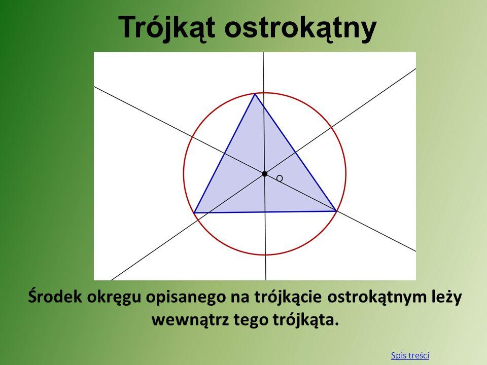 Trójkąt ostrokątny Środek okręgu opisanego na trójkącie ostrokątnym leży wewnątrz tego trójkąta. Spis treści