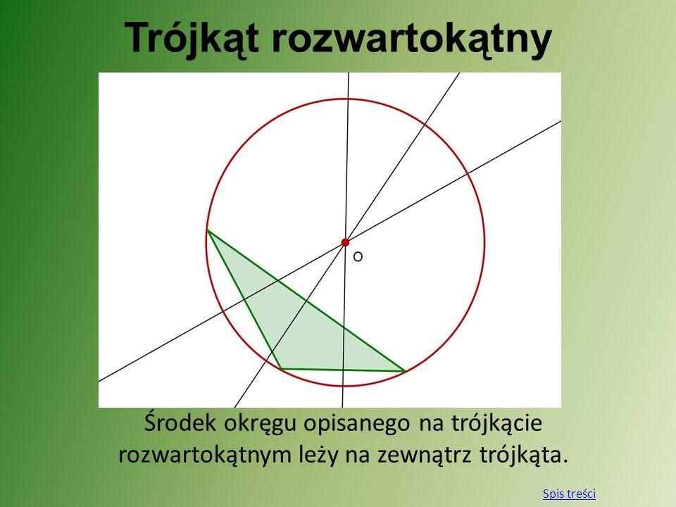 Trójkąt rozwartokątny Środek okręgu opisanego na trójkącie rozwartokątnym leży na zewnątrz trójkąta. Spis treści