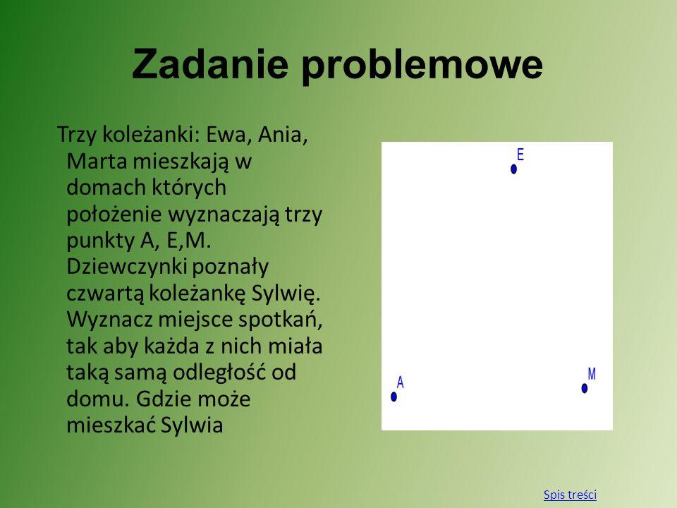 Zadanie problemowe Trzy koleżanki: Ewa, Ania, Marta mieszkają w domach których położenie wyznaczają trzy punkty A, E,M. Dziewczynki poznały czwartą ko