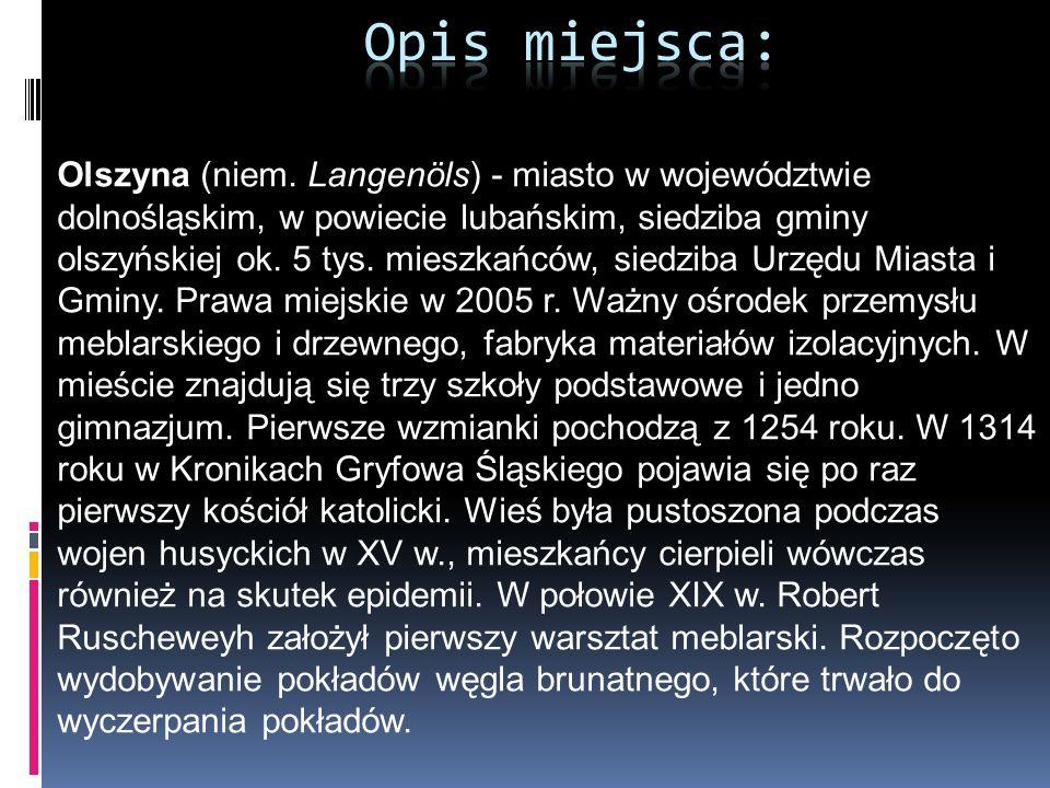 Olszyna (niem. Langenöls) - miasto w województwie dolnośląskim, w powiecie lubańskim, siedziba gminy olszyńskiej ok. 5 tys. mieszkańców, siedziba Urzę