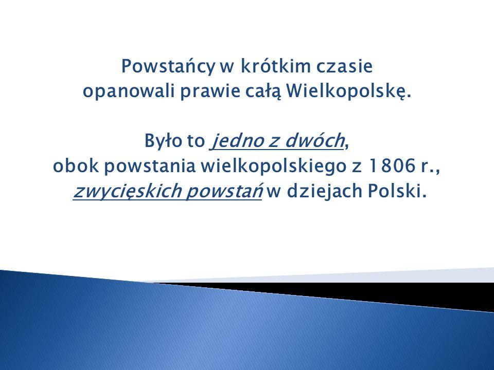 Powstańcy w krótkim czasie opanowali prawie całą Wielkopolskę. Było to jedno z dwóch, obok powstania wielkopolskiego z 1806 r., zwycięskich powstań w