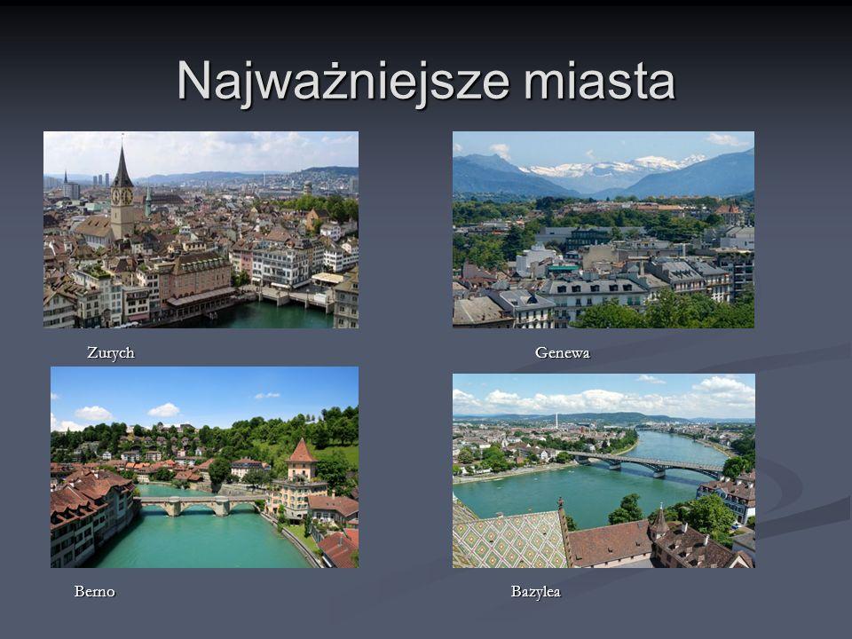 Najważniejsze miasta Zurych Genewa Zurych Genewa Berno Bazylea Berno Bazylea