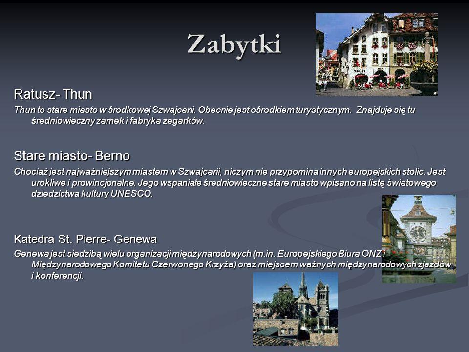 Zabytki Ratusz- Thun Thun to stare miasto w środkowej Szwajcarii. Obecnie jest ośrodkiem turystycznym. Znajduje się tu średniowieczny zamek i fabryka