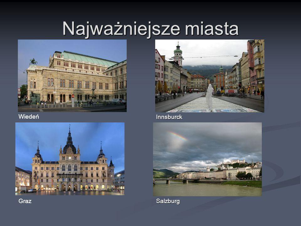 Najważniejsze miasta Wiedeń Graz Innsburck Salzburg