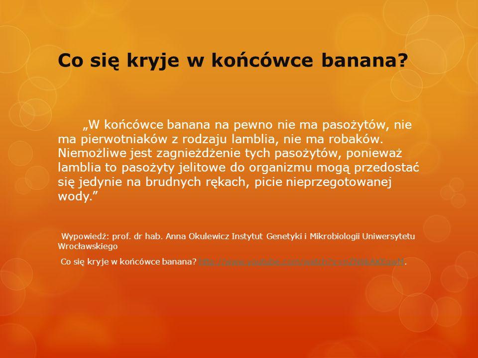 Co się kryje w końcówce banana? W końcówce banana na pewno nie ma pasożytów, nie ma pierwotniaków z rodzaju lamblia, nie ma robaków. Niemożliwe jest z