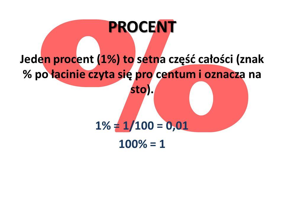 PROCENT Jeden procent (1%) to setna część całości (znak % po łacinie czyta się pro centum i oznacza na sto). 1% = 1/100 = 0,01 100% = 1