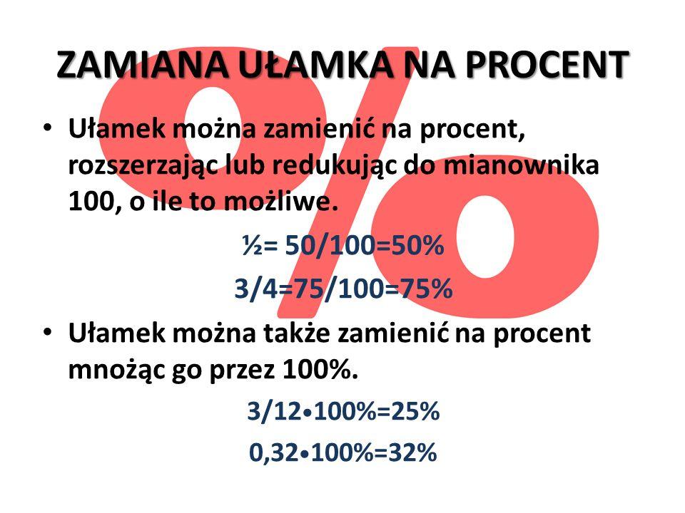 ZAMIANA UŁAMKA NA PROCENT Ułamek można zamienić na procent, rozszerzając lub redukując do mianownika 100, o ile to możliwe. ½= 50/100=50% 3/4=75/100=7